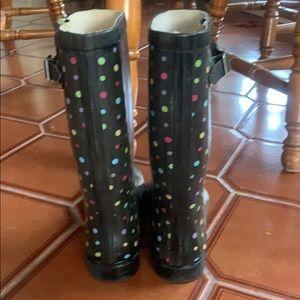 Merona Shoes - Medina black w/multi colored rain boots